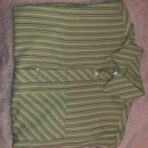 Long sleeve shirt green with blue stripes.